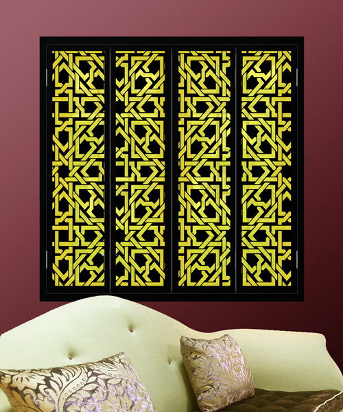 Arabic pattern black window shutters with yellow lights