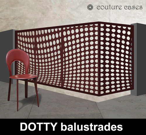 DOTTY laser cut metal balustrade with corners by Couture Cases
