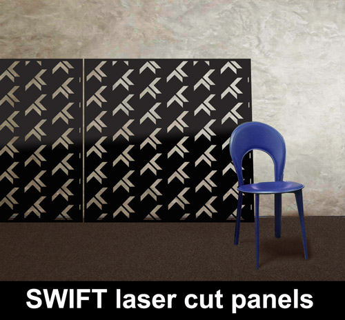 SWIFT laser cut metal panels in BLACK with BLUE chair