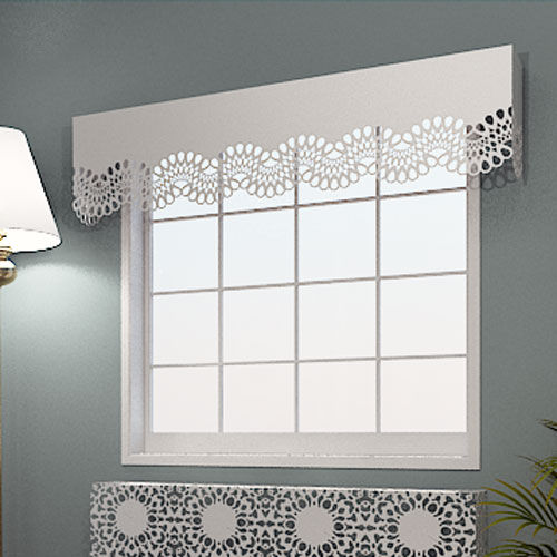 Decorative laser cut window and curtain pelmets