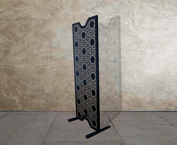 black laser cut room divider in nottingam lace design
