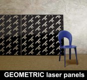 Geometric laser cut panel designs exclusive to Lace Furniture
