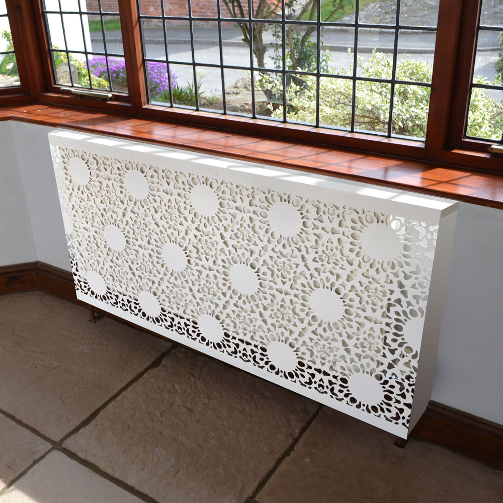 Nottingham  Lace Heavy Trim Pattern Wall mounted Radiator cover by Couture Cases