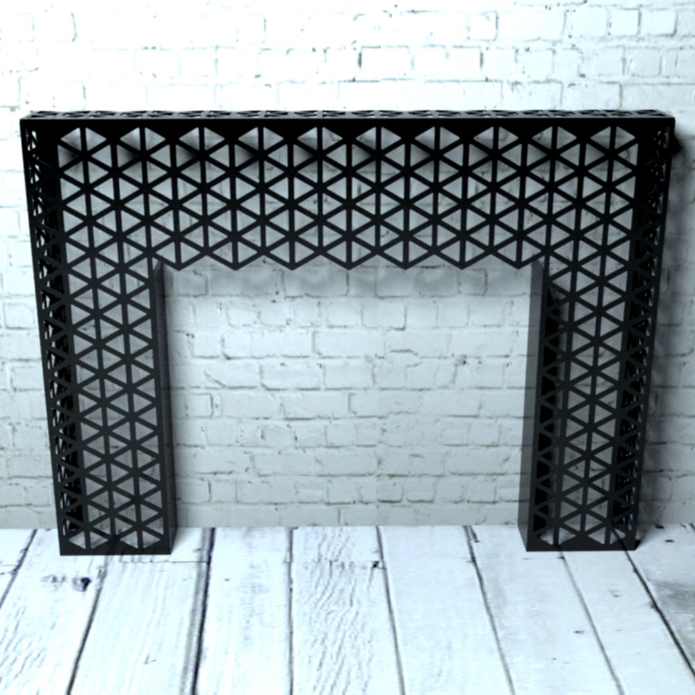 Black Console Table with Geo Triangles