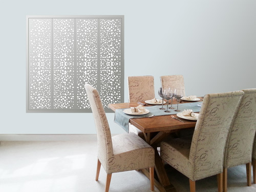 white decorative perforated circles window shutters for modern interiors